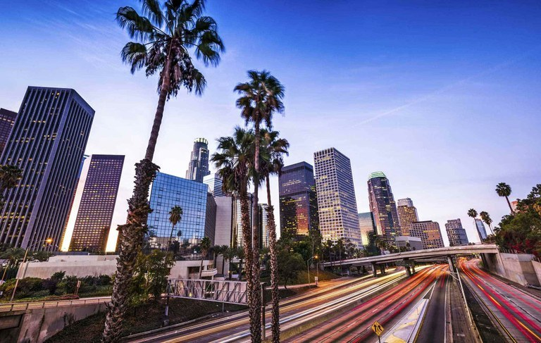Buildings and freeways in the city of Los Angeles