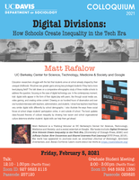 "Sociology Colloquium Series: ""Digital Divisions: How Schools Create Inequality in the Tech Era"" by Matt Rafalow"